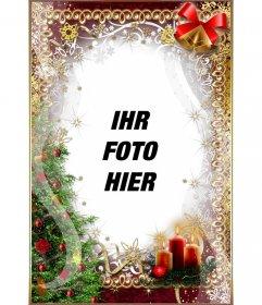 Weihnachtsbaum, Kerzen, buirnaldas und Glocken, um das Foto online besonders anfertigen