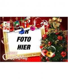 Schöne Weihnachtskarte mit Weihnachtsschmuck, Geschenke, Bilder von Santa Claus und Geschenke. Stoppen Sie Weihnachtskarten mit Ihrem Foto.