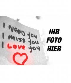 Liebe Fotoeffekt mit Text und ein Herz