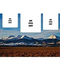 Collage für 3 Fotos mit einem Hintergrund der schneebedeckten