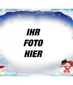 Photo Frame auf verschneiten Weihnachten mit Schneemännern zu ergänzen