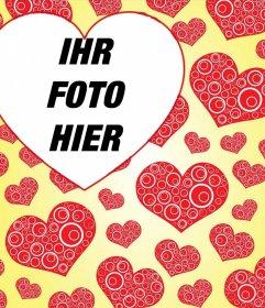 Montage einer Tapete mit vielen Herzen und Ihr Foto