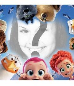 Umgeben Sie Ihr Foto mit den Figuren aus den Kinderfilm Storks