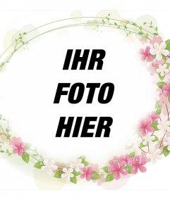 Rahmen, um Ihre Fotos schönen Blumen zu addieren um ihn herum und kostenlos