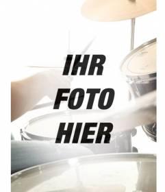 Collage mit einem semi-transparenten Akku Musik Bild, das mit Ihrem Bild übergeht