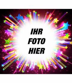 PhotoFrame mit funkelt und lebendige Farben von hellen Sternen, ein Bild setzen und fügen Sie einen Text.
