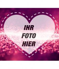 Romantische Bilderrahmen mit einem Herzen auf einem rosa Hintergrund mit hellen Diamant Wellen, um ein Foto hochzuladen