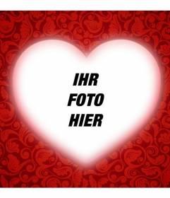 Romantische Karte mit einem Herzen, um Ihr Foto mit einem roten Rahmen zu personalisieren und Text hinzufügen