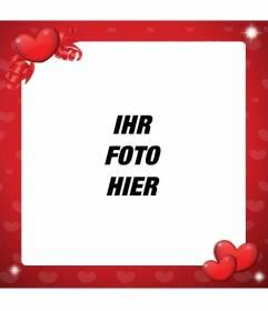 Fotorahmen der Liebe Ihr Foto mit roten Herzen zu dekorieren