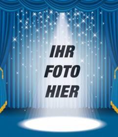 Fotomontage, in dem Sie auf einer Bühne mit hellen Lichtern und blauer Vorhang erscheinen