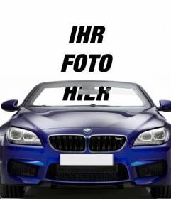 Fahren Sie einen blauen Cabrio BMW mit diesem Fotomontage, in dem Sie Ihr Foto setzen können, um zu sehen, wie Sie mit dem Auto kommen