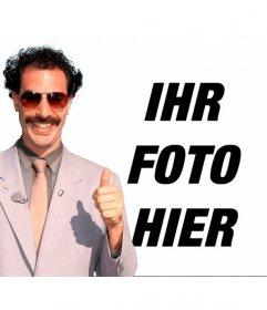 Fotomontage von Borat mit seinem * Bananenhängematte * grün und Sonnenbrillen
