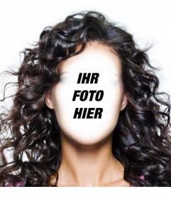 Fotomontage Ihre Frisur zu ändern und langen, dunklen und lockigen Haaren