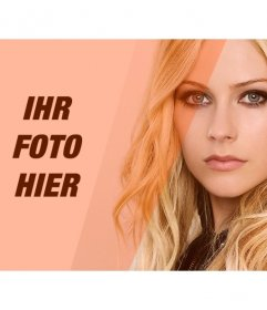 Erstellen Sie eine Collage mit Avril Lavigne und ein Bild von Ihnen, mit dekorativen orange Filter zu bearbeiten