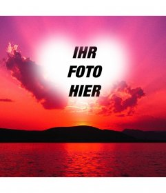 Fotomontage von einem Sonnenuntergang mit einem rosa Himmel und einem herzförmigen Rahmen, wo wir ein Foto aufnehmen können.