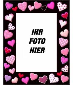 Fotorahmen mit rosa Herzen und schwarzem Hintergrund