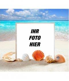 Meeresfotorahmen, um Ihr Foto auf einem Strand setzen