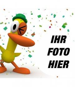 Pocoyo und Ente in einem Spaß-Party, wo Sie Ihr Foto