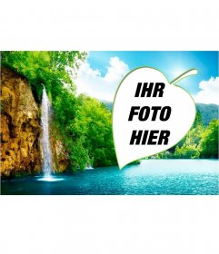 Wälder und Wasserfälle in einer natürlichen Collage, durch eine Blatt umrahmt. In