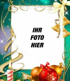 Postkarte mit Weihnachtsschmuck, um Ihr Foto setzen