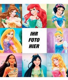 Kinder Fotocollage mit den berühmtesten Prinzessinnen der Welt