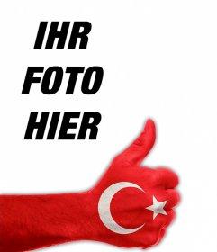 Ihr Profilbild mit dem Daumen nach oben und Flagge der Türkei