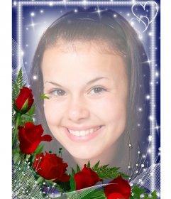 Fotorahmen mit hellen Kanten mit einem Strauß Rosen geschmückt