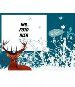 Weihnachten Rahmen für Fotos mit einem Rentier und Schneeflocken