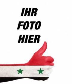 Hand mit Syrien-Flagge Ihr Foto hinzufügen Online-