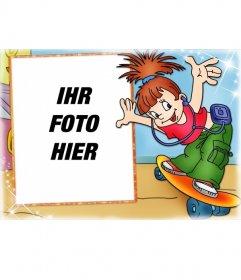 Skate Mädchen Fotorahmen für Mädchen. Setzen Sie Ihr Bild in den Hintergrund