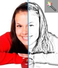 Fotos filtern geht auf schwarz und weiß und wendet eine Kontrast-Korrektur.