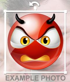 Dämon Smiley sauer als Aufkleber auf Ihrem Foto zu setzen
