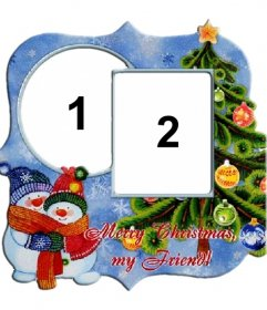Rahmen für zwei Fotos anlässlich der Weihnachtsbaum und Schneemänner