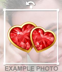 Dekorieren Sie Ihre Fotos mit zwei Herzen von Diamanten mit diesem Aufkleber