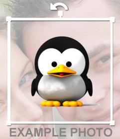 ein zartes pinguin als aufkleber auf ihre lieblingsfotos. Black Bedroom Furniture Sets. Home Design Ideas