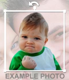 Meme Erfolgskind in wie ein Aufkleber zu setzen Ihre Online-Fotos.