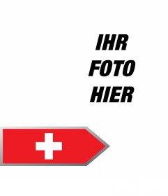 Fügen Sie einen Pfeil mit der Flagge der Schweiz in Ihren Fotos kostenlos