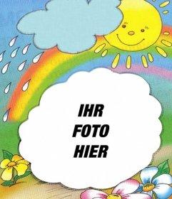 Bilderrahmen mit der Sonne auf dem Hintergrund der aus einer Wolke und des Regenbogens, wo Sie Ihre Bilder setzen können