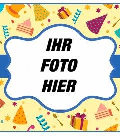 Bunte Online-Postkarte für eine Geburtstagsfeier