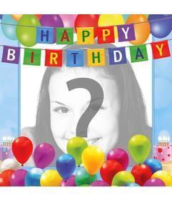 Eine Geburtstagskarte zu gratulieren und mit einem Foto personalisieren