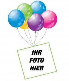 Foto-Effekt mit Luftballons und einem schwebenden Rahmen Ihr Foto