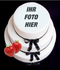Fotomontage, um Ihr Gesicht auf einer Fondant-Kuchen mit Erdbeeren setzen