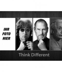 Fotomontage mit John Lennon, Steve Jobs und Albert Einstein. Think different