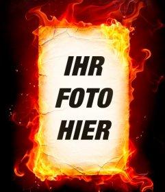Foto-Montage von Feuer, die Sie mit Ihren Fotos online tun