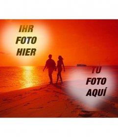 Collage vom Strand und ein paar Fotos in einem Herz zu legen