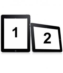 Holen Sie sich in zwei Frames einfach. Laden Sie zwei Fotos zu dieser Montage, in denen Bilder erscheinen auf zwei digitale Bilderrahmen auf einem weißen Hintergrund.