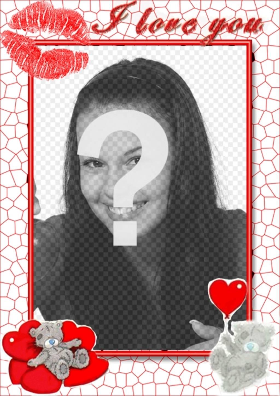 Online Liebe Rahmen mit Herzen küssen und Ich liebe dich