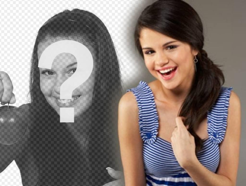 Fotomontage mit Prominenten und beliebt. Laden Sie Ihr Foto und die Sängerin scheint mit Texas, USA, Selena Gomez
