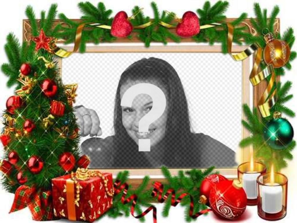Ein Rahmen für Fotos mit Weihnachtsschmuck