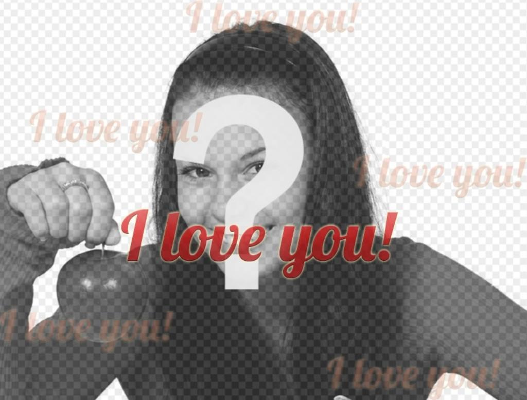 Fotomontage aus einer Collage, dass man, ich liebe dich, in englischer Sprache dringt die digitalisiertes Foto Ihrer Wahl mit roten Buchstaben. Auf dieser Seite haben Sie mehr Effekte zu drucken, email, oder schmücken Sie Ihre Fotos mit Leichtigkeit